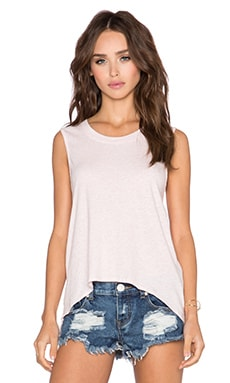 Bobi Light Weight Jersey Muscle Tank in Heather Pink