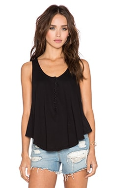 Bobi Light Weight Jersey Scoop Neck Tank in Black