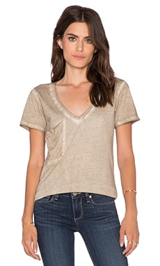 Bobi Cold Water Vintage Wash V Neck Pocket Tee in Tea