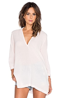Bobi Gauze V Neck Blouse in Angel Pink