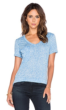 Bobi Burnout V Neck Pocket Tee in Tropez