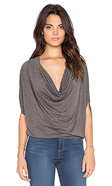 Bobi Tissue Jersey Drape Front Top in Dark Grey