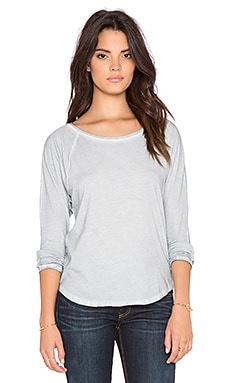 Bobi Cold Water Vintage Wash Raglan Tee in Light Grey
