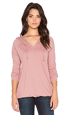 Bobi Light Weight Jersey Long Sleeve Hoodie Tee in Light Rose