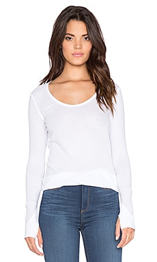 Bobi Light Weight Jersey Thumbhole Long Sleeve Tee in White