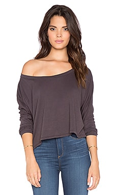 Bobi Light Weight Jersey Long Sleeve Crop Tee in Storm Cloud
