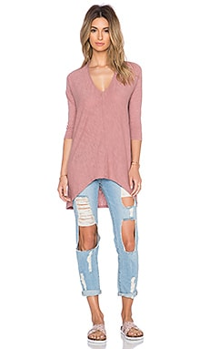 Bobi Cotton Slub Dolman 3/4 Sleeve Tunic in Light Rose