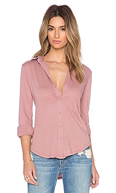 Bobi Light Weight Jersey Button Up in Light Rose