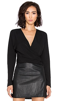 BLACK Georgette Long Sleeve Wrap Crop Top in Black