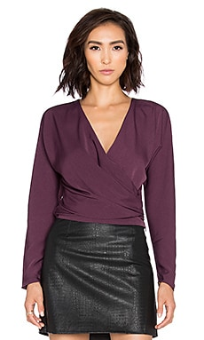 BLACK Georgette Long Sleeve Wrap Crop Top in Eggplant