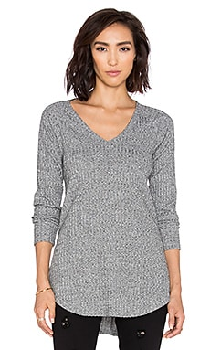 Bobi Heathered Rib V Neck Long Sleeve Tee in White
