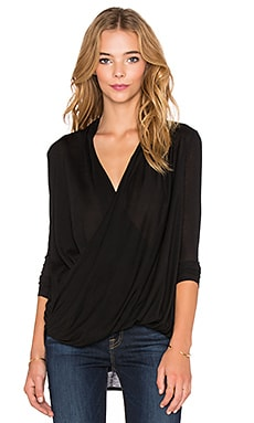 Bobi Tissue Jersey Surplice Long Sleeve Tee in Black