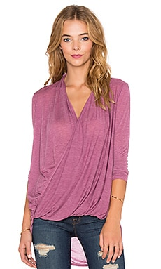 Bobi Tissue Jersey Surplice Long Sleeve Tee in Wine