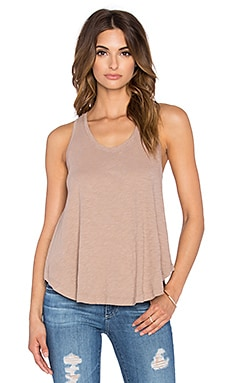 Bobi Slubbed Jersey Swing Tank in Wheat