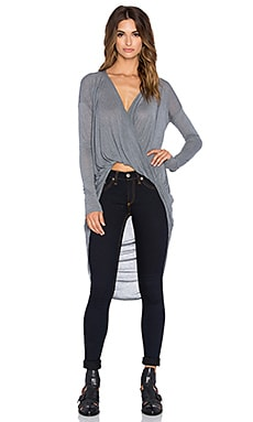 Bobi Tissue Jersey Drape Front Hi Lo Top in Mid Grey