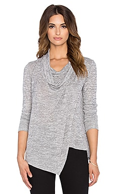 Bobi Bouncy Knit Cowlneck Crossover Top in Grey