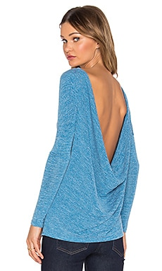 Bobi Heavy Bouncy Knit Open Back Top in Blue