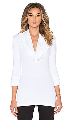 Bobi Thermal Cowl Neck Long Sleeve Tee in White