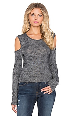 Bobi Heavy Bouncy Knit Open Shoulder Long Sleeve Tee in Black