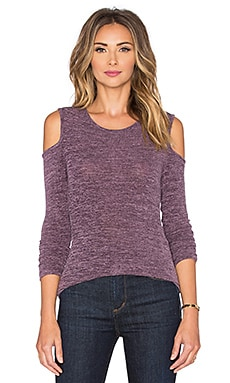 Bobi Heavy Bouncy Knit Open Shoulder Long Sleeve Tee in Lavender