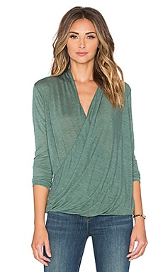 Bobi Tissue Jersey Wrap Front Blouse in Green