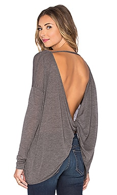Bobi Tissue Jersey Open Back Blouse in Dark Grey