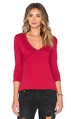 Bobi Light Weight Jersey Pocket V Neck Long Sleeve Tee in Roses