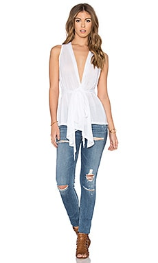 Tissue Jersey Cross Front Tie Waist Tank in White