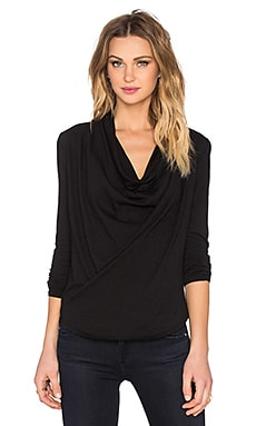 Bobi Lightweight Jersey Cowl Neck Long Sleeve Tee in Black