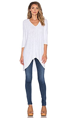 Bobi Cotton Slub V-Neck Dolman Long Sleeve Tee in White