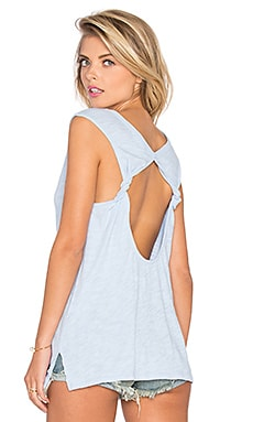 Cotton Slub Open Back Tank in Uniblu