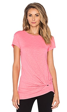 Bobi Slubbed Jersey Knot Front Tee in Juicy Pink