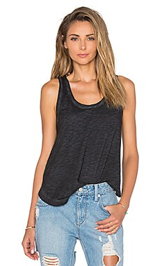 Bobi Cold Water Washed Slubbed Jersey Swing Tank in Black