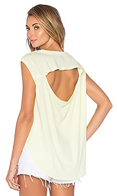 Bobi Lightweight Jersey Drape Back Cut Out Tee in Mellow Yellow