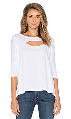 Bobi Lightweight Jersey Cut Out Dolman Tee in White