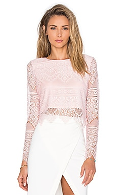 Bobi BLACK Lace Long Sleeve Crop Top in Blush