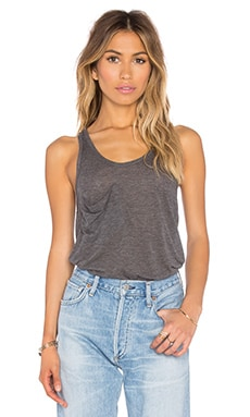 Tissue Jersey Scoop Neck Front Pocket Tank in Dark Grey