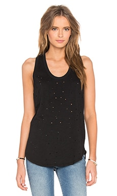 Slubbed Ripped Holes Scoop Neck Tank in Black