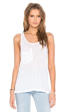 Tissue Jersey Scoop Neck Front Pocket Tank en Blanc