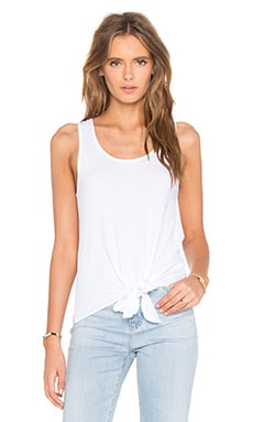 Light Weight Jersey Tied Waist Scoop Neck Tank in White