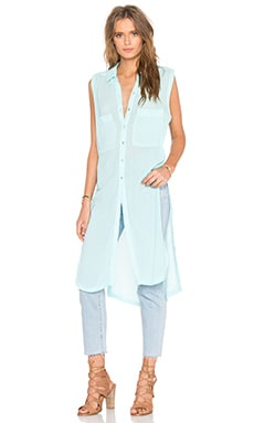 Gauze Button Up Sleeveless Mini Dress in Light Aqua