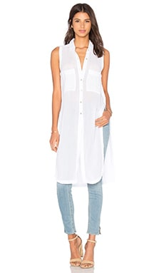 Gauze Button Up Sleeveless Mini Dress en Blanc