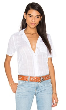 Bobi Plaid Woven Stripe Waist Tie Short Sleeve Top in White
