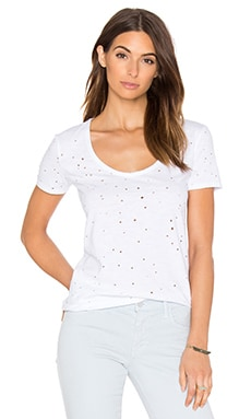 Bobi Slubbed Ripped Holes Scoop Neck Tee in White