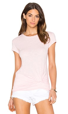 Slubbed Jersey Knot Detail Crew Neck Tee in Lipgloss