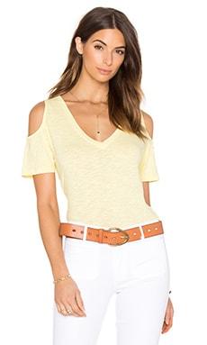 Bobi Slubbed Jersey Short Sleeve Open Shoulder Tee in Sunny