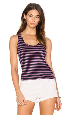 Double Stripe Jersey Scoop Neck Tank in Passport & Sweetie Pink