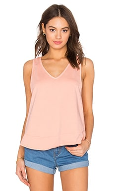 Light Weight Cashmere Terry Crossback Tank in Peachy