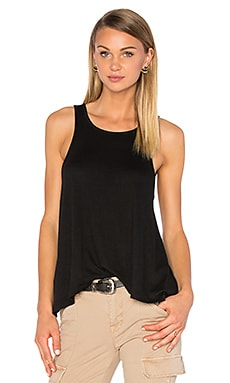 Knit Gauze Scoop Neck Tank in Black