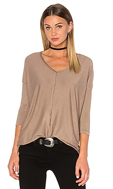 Knit Gauze 3/4 Sleeve Top en Fauve